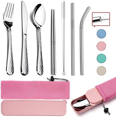 HaWare - Juego de cubiertos de acero inoxidable para camping (9 piezas, incluye cuchillo, tenedor, cuchara, palillos, cepillo de limpieza, pajitas, estuche portátil y bolsa (rosa): Amazon.es: Hogar