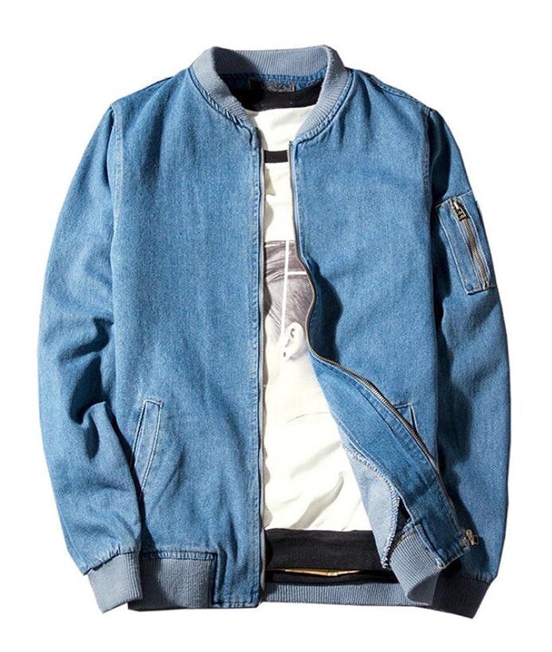 BYWX Men Casual Cotton Long Sleeve Denim Baseball Bomber Jacket