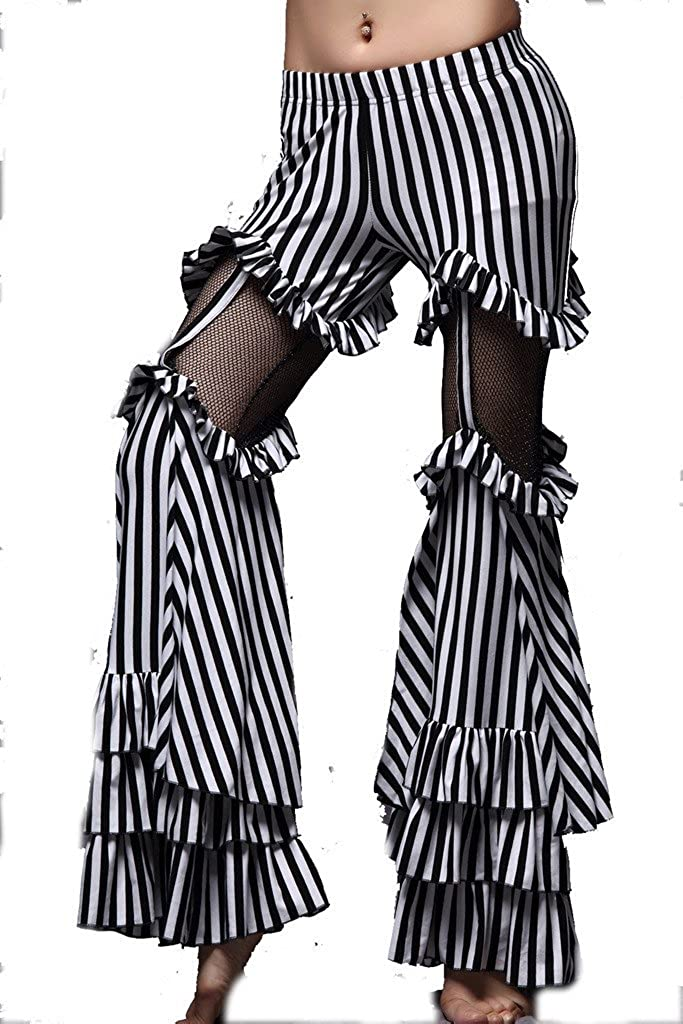 ZLTdream Tribe Belly Dance Striped Bell-bottomed Pants Cotton