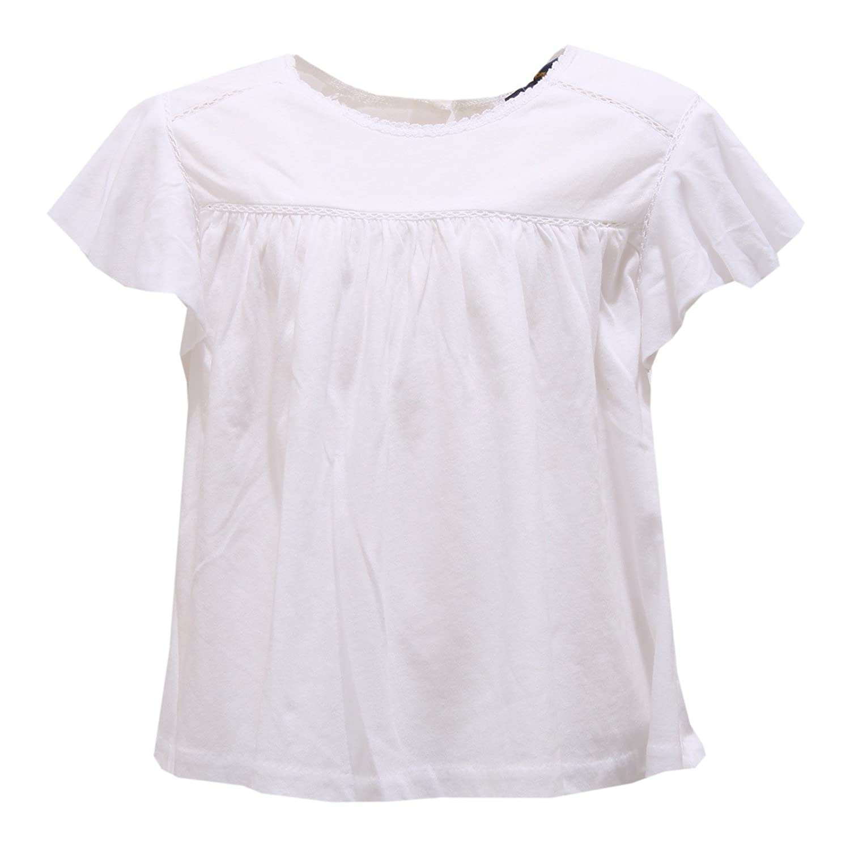 6427R maglia bimba RALPH LAUREN RUFFLE TOP bianco t-shirt top kid