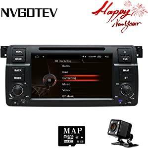 NVGOTEV Car Stereo Headunit Fits for BMW E46 DVD Player Radio 7 Inch HD Touch Screen GPS Navigation with Bluetooth Steering Wheel Control 16GB Map Card