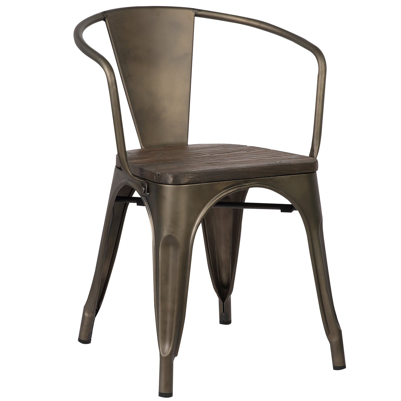 Poly and Bark Trattoria Arm Chair with Elm Wood Seat in Bronze