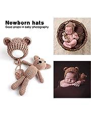 Lorenlli Bebé bebé tejido de punto Crochet Gorros Sombrero con muñeca Juguete Recién nacido Bebé niño