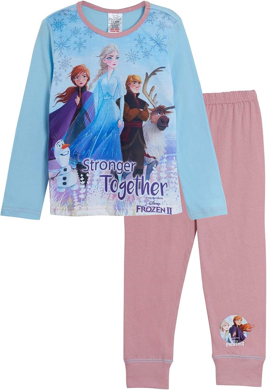 Disney Girls Frozen 2 Pyjamas Kids Full Length Elsa Anna Olaf Matching Pjs Set Nightwear