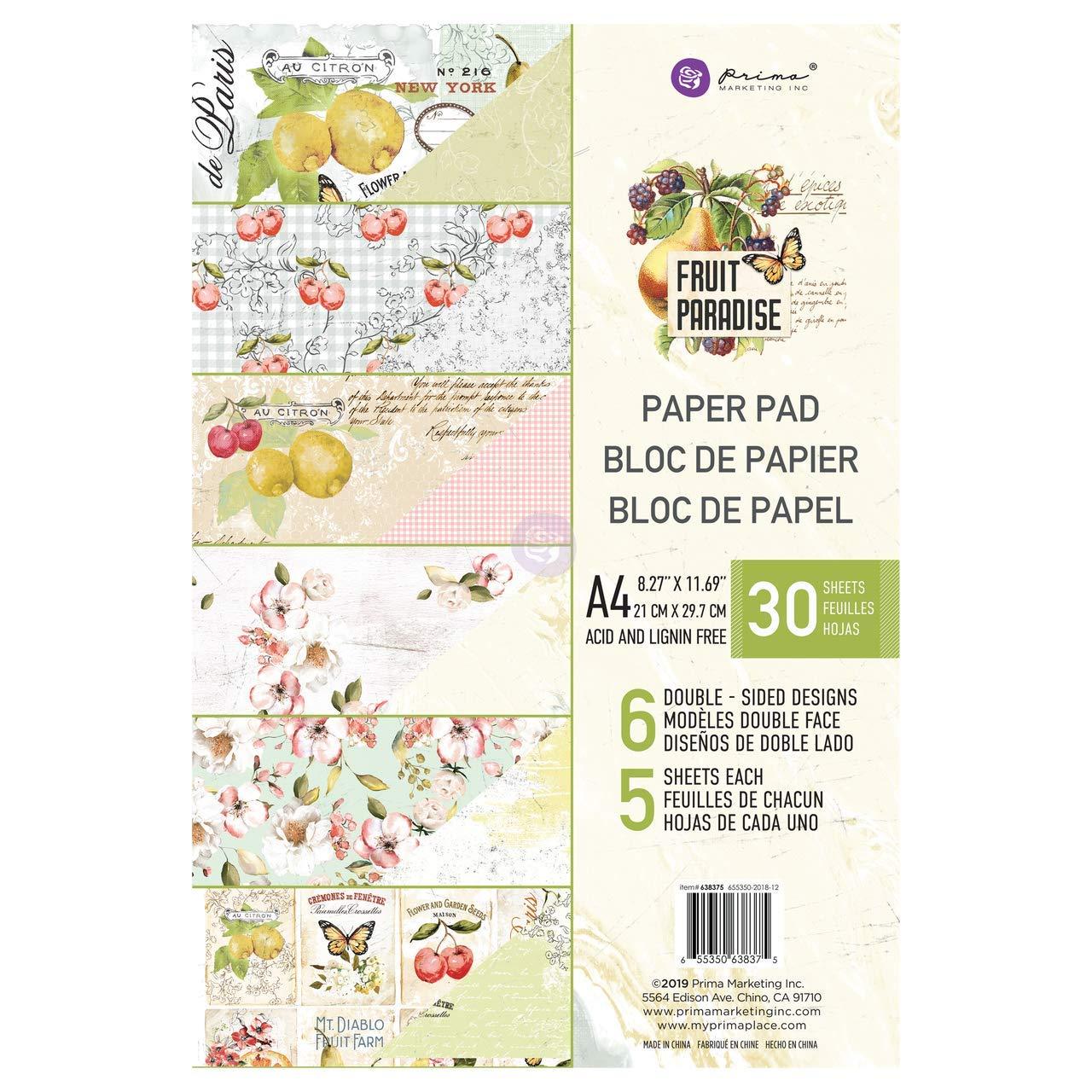 Prima Marketing Double-sided Paper Pad A4 30//pkg-fruit Paradise 6 Designs//5