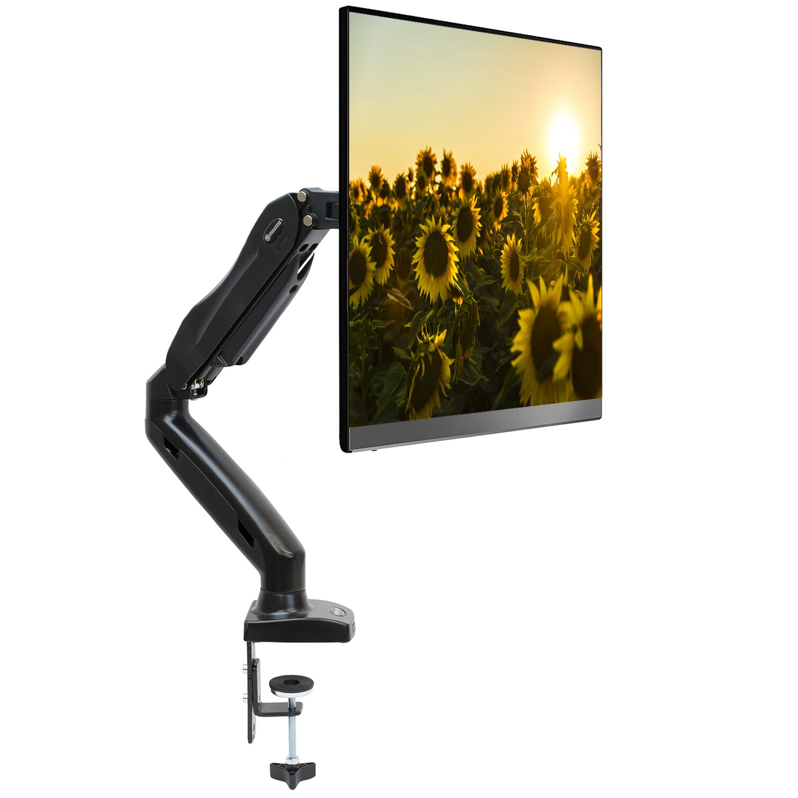 Mountio Full Motion LCD Monitor Arm - Gas Spring Desk Mount Stand for Screens up to 27''