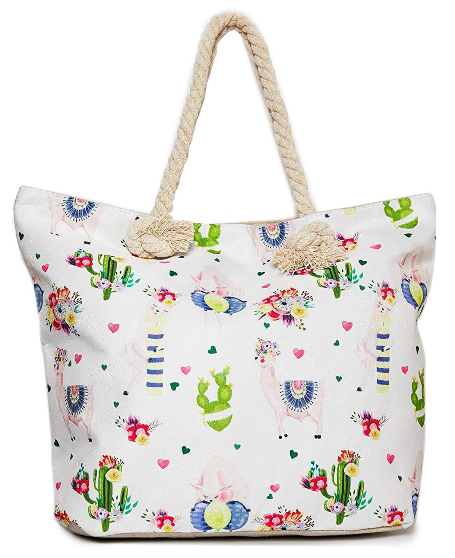Llama Beach Shoulder Tote Bag - White Llama Weekender Travel Bag - Comes with Quick Reach Zipper Pouch