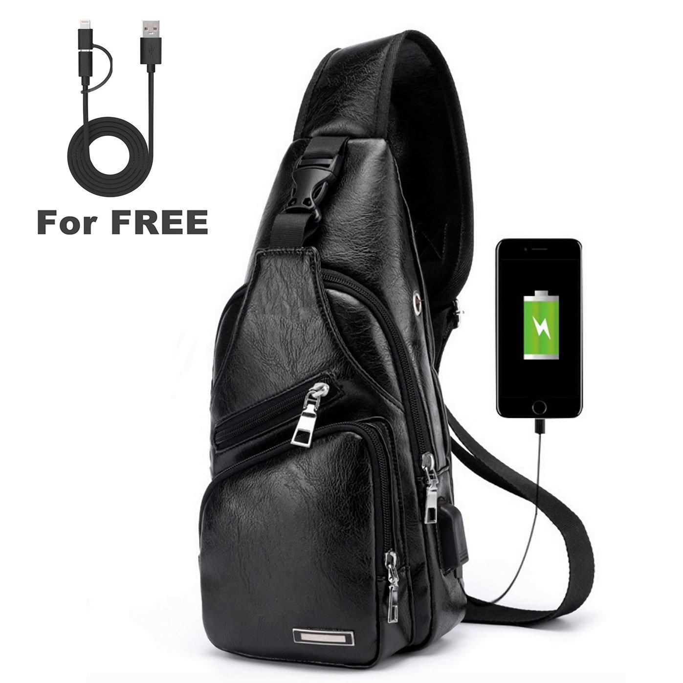 ElkIsComing Sling Bag Sac de Coffre avec USB Ports de Chargement Bandoulière PU Cuir pour Homme Femme Léger Randonnée Sac à Dos de Voyage Noir