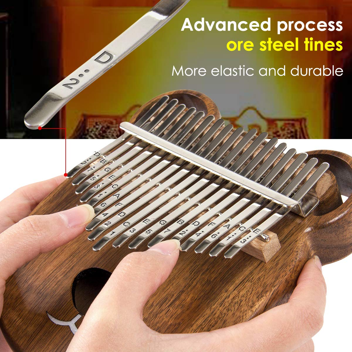 Kalimba 17 Keys Thumb Piano Solid Wood Finger Piano Start Kits African Instrument with Protective Case Tuning Hammer Study Booklet Cleaning Cloth From AKLOT by AKLOT (Image #4)