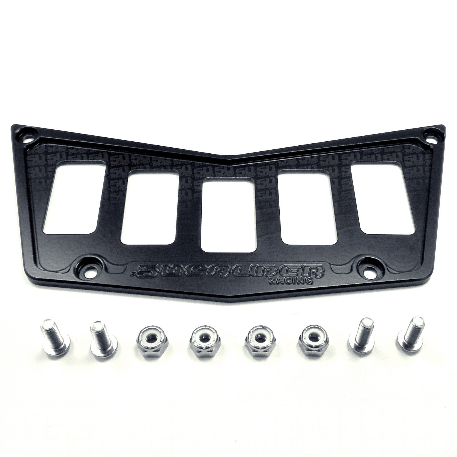 50 Caliber Racing Stealth Black Powdercoat Billet 6061 Aluminum 5 Switch Hole Dash Panel Plate Bezel - Deletes Lighter and Adds 3 Rocker Switch Mounting Locations For Polaris RZR 570 800 XP900 [5357B]