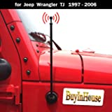 For Jeep Wrangler TJ 1997-2006, Antenna Replacement - AM FM Metal Aluminium Heavy Duty Antenna Black (black)