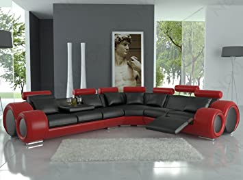 4087 Red & Black Bonded Leather Sectional Sofa With Built-in Footrests
