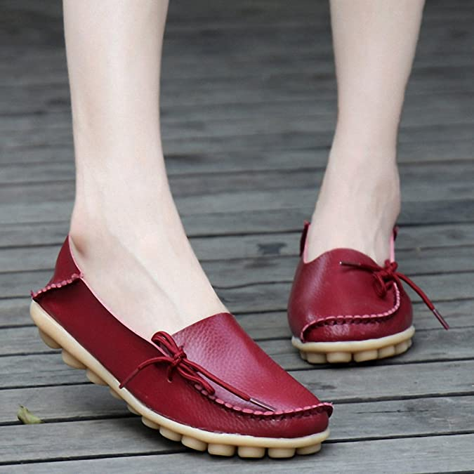 Amazon.com | Plus Size 35-44 Genuine Leather Women Shoes New Spring Fashion Soft Lace-up Casual Flat Shoes Peas Non-Slip Outdoor Shoes | Loafers & Slip-Ons