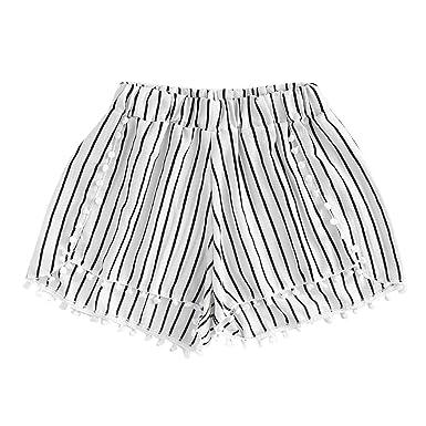 Sunenjoy Femme Shorts Rayures Pantalon Court Gland Élastique Taille Bermudas  Lâche Été Mode Casual (S 2292957d66f