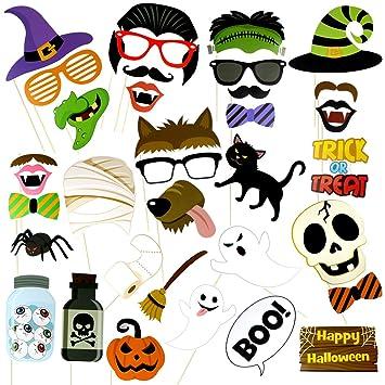 Máscaras de Halloween, Halloween Props Fotos, Cool Funny accesorios Ideas para niños, eventos, fuentes del partido: Amazon.es: Hogar