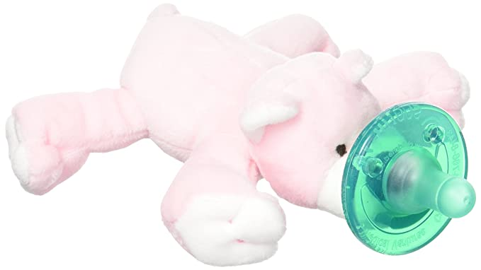 Amazon.com: Wubbanub Chupete, diseño de oso, color rosa: Baby