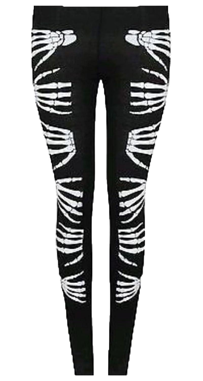 Womens Ladies Gothic Skeleton Bone Halloween Printed Pants Leggings 8-26