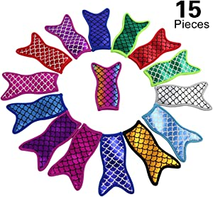 15 Pieces Bling Sparkle Antifreezing Mermaid popsicle Bags Ice Pop Holders sleeves Freezer Reusable Washable Popsicle Covers and Colorful Ice Pop Sleeves with Stitched Edges