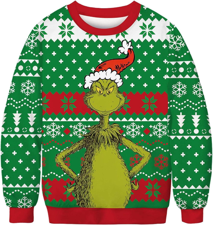 Su/éter Feo de Navidad Divertido y Novedoso con Renos de Santa Jersey de Navidad para Mujer Sudadera Suave de Fleeces con Manga Larga de Punto Festivo Grueso para Fiesta