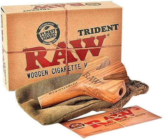 Aut/éntico Raw Trident fumar Tubo Triple de madera cigarrillos soporte UK libre P y p