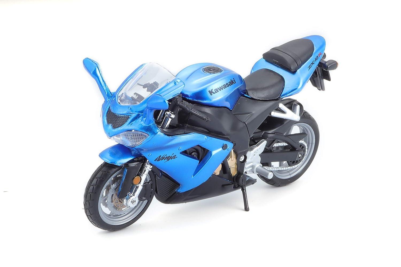 KAWASAKI NINJA ZX-10R BLUE 1:18 Burago Moto Die Cast Modellino