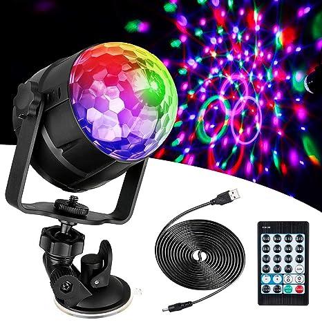 Luces tipo bola de disco con 12 Tipos de efectos de Iluminación con mando a distancia.