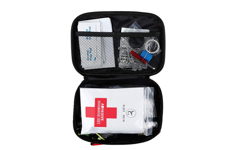 XL First Aid Kit Survival 350 Pieces Upgraded Home Emergency Trauma Bag Set Black Marlin