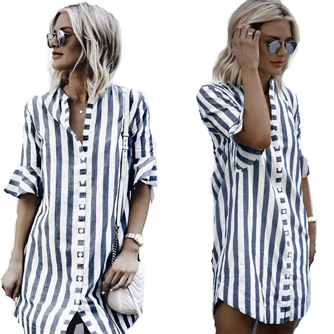 e855461da34abb Women\'s Button up Short Sleeve T-Shirt Casual Blouse Tunic Tops Women\'s  Short Sleeve Casual Cold Shoulder Tunic Tops Loose Blouse Shirts Women\'s  Summer ...
