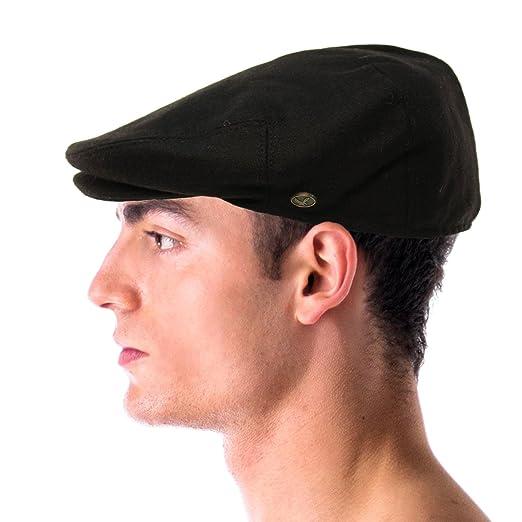 6051e891b10 Men s Winter 100% Soft Wool Solid Flat Ivy Driver Golf Cabby Cap Hat Medium  Black