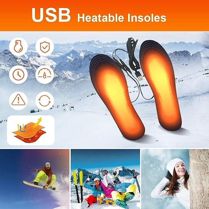 Suxman Semelles chauffantes Semelle chauffante Electrique USB Taille Ajustable Chauffe Pied pour dhiver p/êche randonn/ée Camping Taille Peut /être coup/é et Lavable