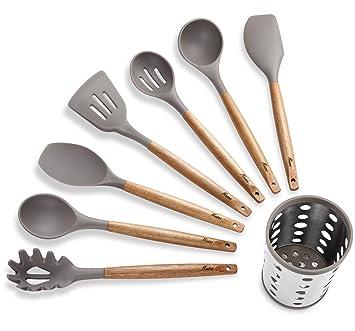 Compra Juego de 7 utensilios de cocina de silicona con mango de acero inoxidable y soporte para utensilios Acacia Wood en Amazon.es