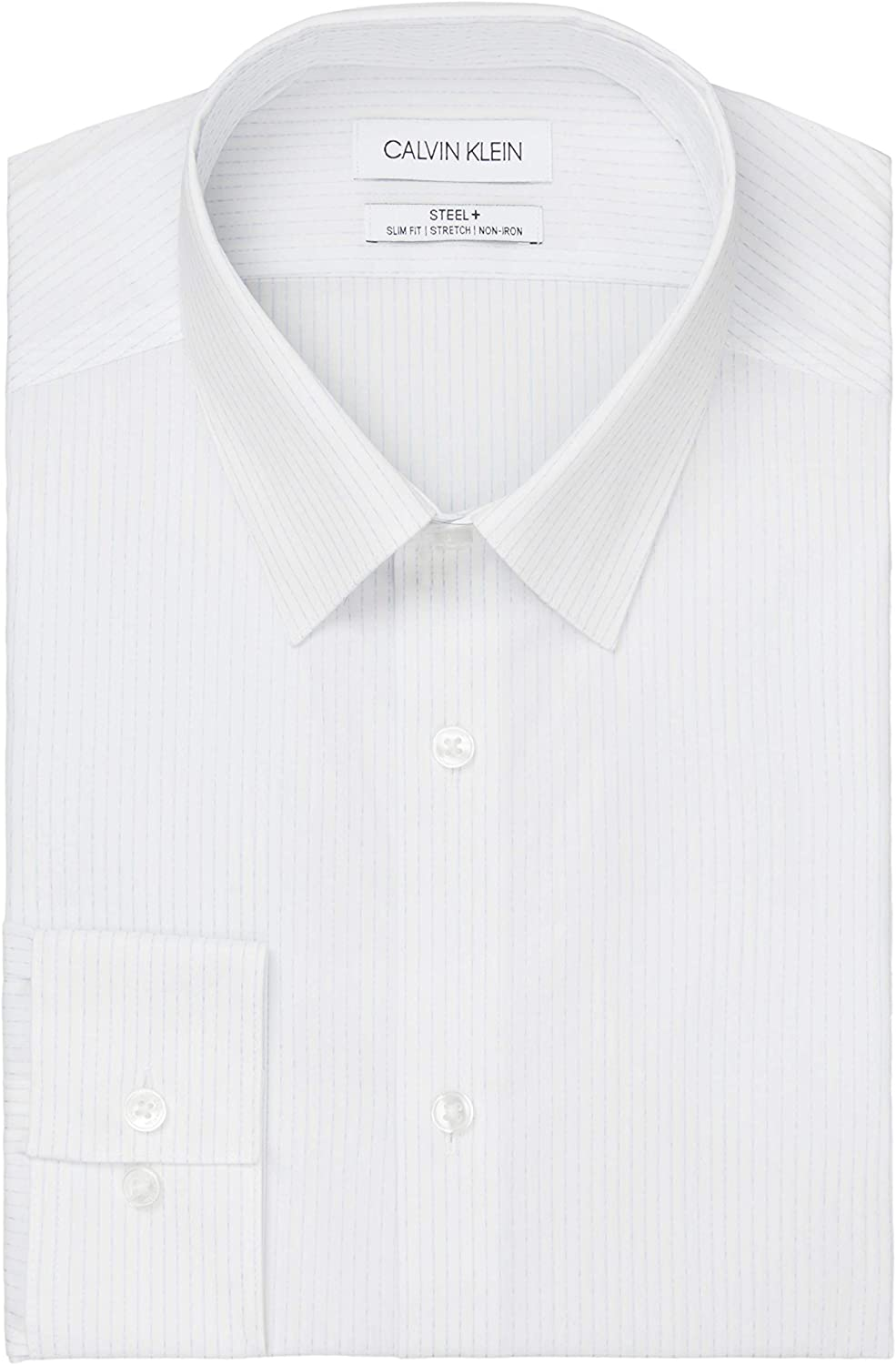 Calvin Klein Men's Dress Shirt Non Iron Slim Fit Stretch Stripe