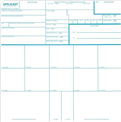 Amazon Fingerprint Cards Applicant Fd 258 250pk Finger