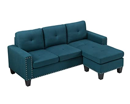 Bliss Brands Linen Fabric Tufted Button Sectional Sofa With Chaise (Sofa,  Teal)