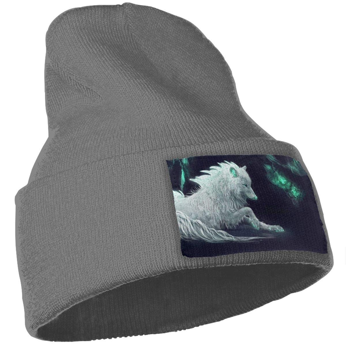 White Wolf Hat for Men and Women Winter Warm Hats Knit Slouchy Thick Skull Cap Black