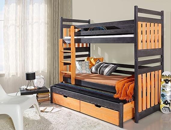 Etagenbett Quatro : Massivholz kiefer etagenbett 3 liegeflächen ink.matratzen kinderbett