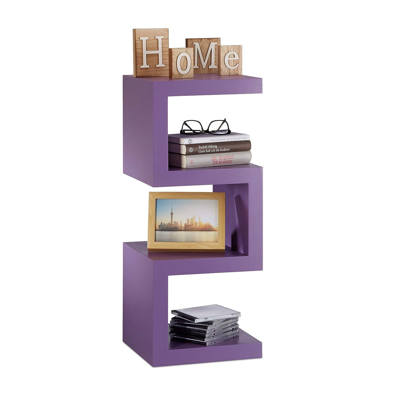 Relaxdays Retro Standregal im Zickzack Design, Dekoregal für DVD, CDs, schmales Bücherregal HxBxT 75x30x30 cm, violett