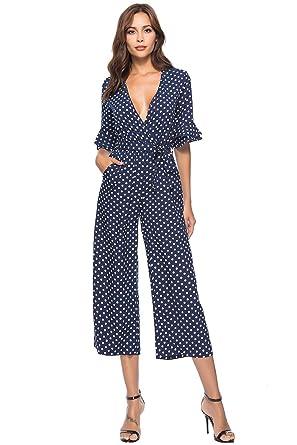 Pois A Chic Combishort Combinaison Jambe Femme Pantalon Boheme Mode Y6ybg7f