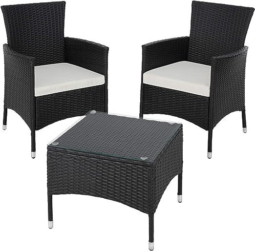 TecTake Set de jardín de poli ratán | 2 sillones y pequeña mesa con placa de cristal | Marco resistente de acero - disponible en diferentes colores - (Negro | No. 402862): Amazon.es: Jardín