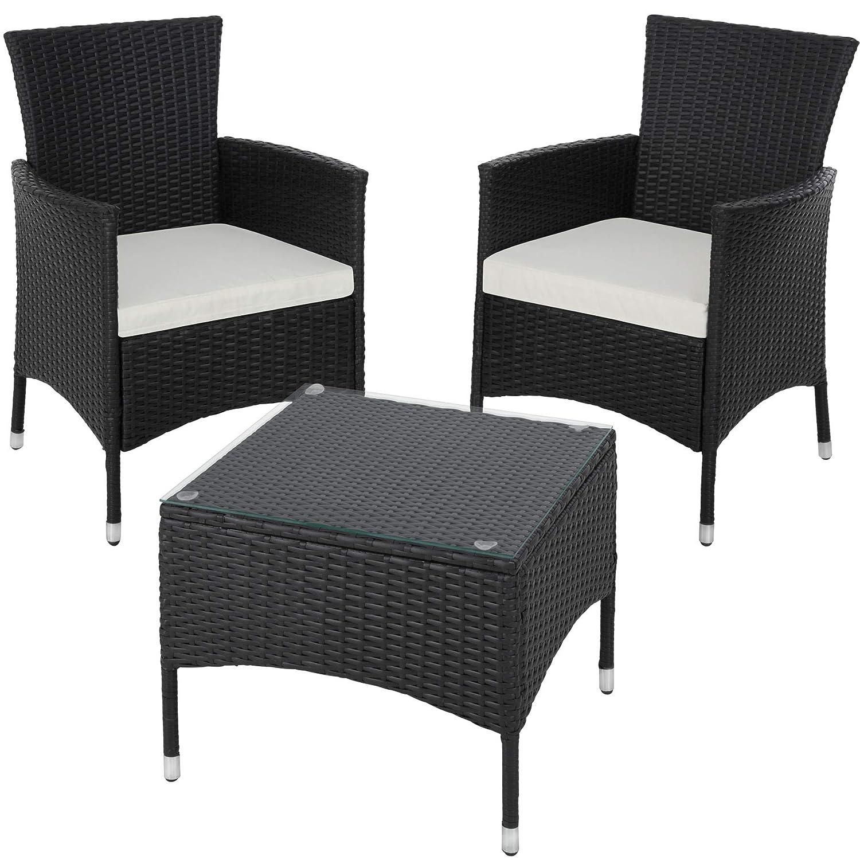 TecTake Set de giardino in poly rattan | 2 sedie e tavolino con piano in vetro | Robusto telaio in acciaio - disponibile in diversi colori - (Mixed-marrone | No. 402863)