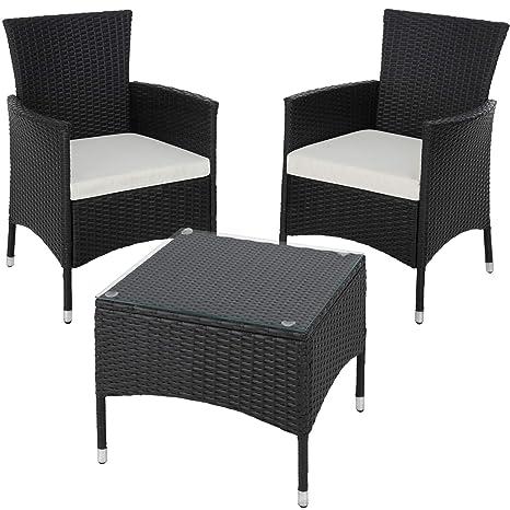 TecTake Set de jardín de poli ratán | 2 sillones y pequeña mesa con placa de cristal | Marco resistente de acero - disponible en diferentes colores - ...