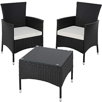 585b00532824 TecTake Poly Rattan Garden Set | 2 Chairs and Small Table with Glass top |  Robust