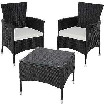 TecTake Résine tressée set de jardin | 2 chaises et petite table à ...