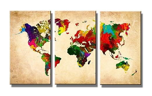 62 opinioni per Quadro su tela mappa del mondo 160 x 90 cm 3 tele modello nr XXL 1169