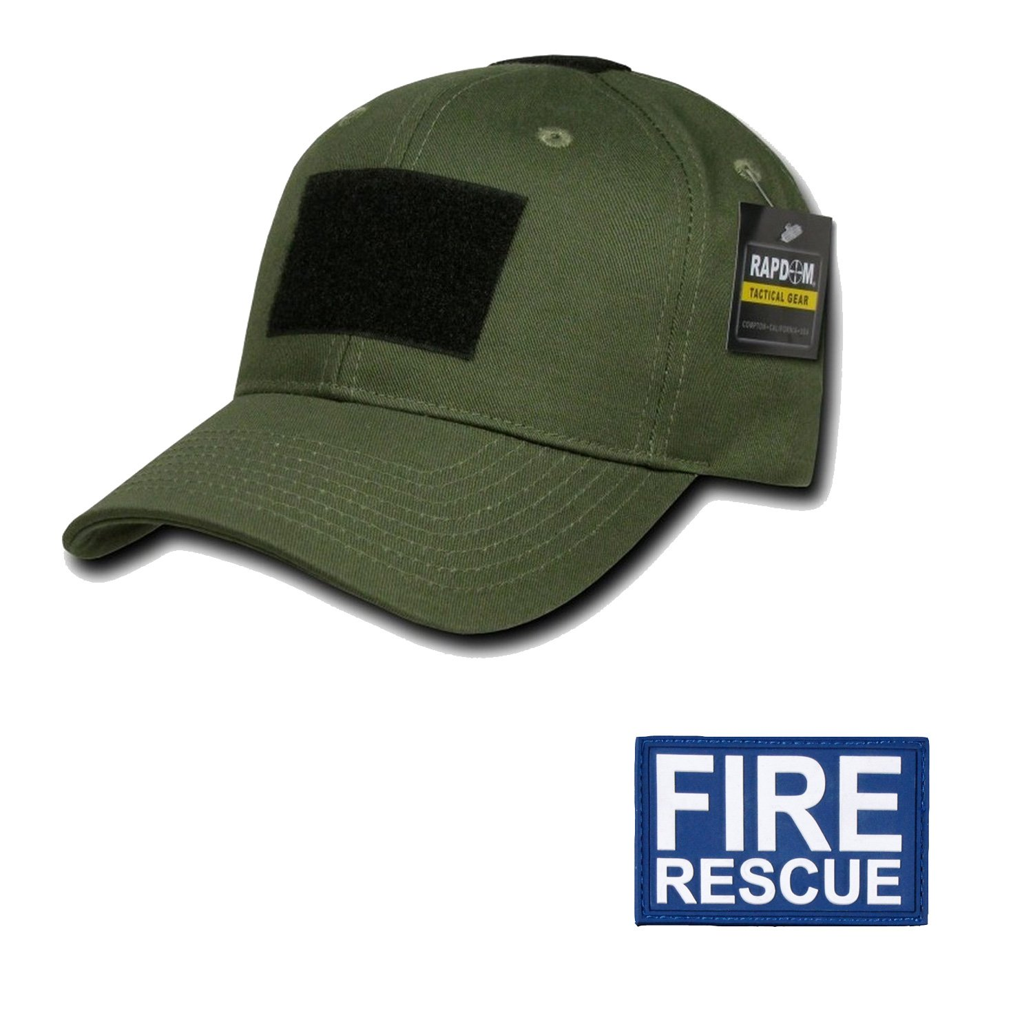 RAPDOM Genuine Tactical Constructed Ball Operator Cap Olive Caps with Free Patch (Olive, Fire Rescue Patch) by RAPDOM