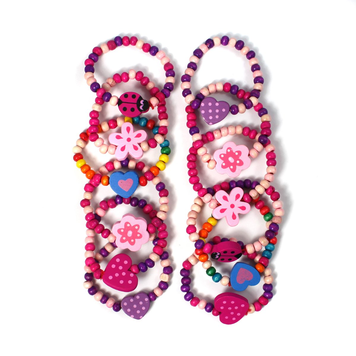 12 Bracelets Colourful Wooden Jewellery Girls Bracelets Christmas and Birthday Party Bag Stocking Filler Loot Stands Out Ltd 12B