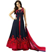 Sojitra Enterprise Women's Embroidered Semi Stitched Anarkali Gown (Free Size) (Blue)
