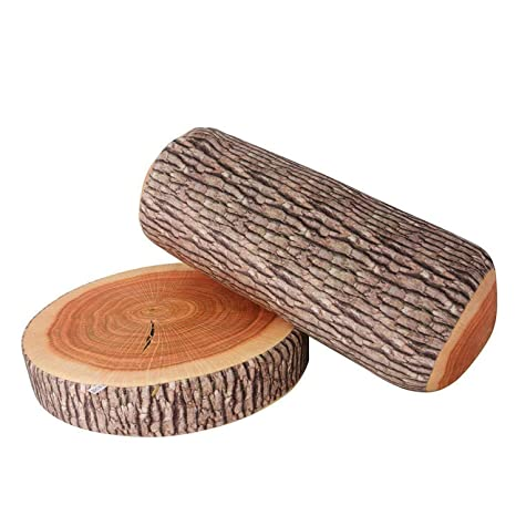 Yunnasi Round Wood Tree Soft Plush Chair Seat Cushion Stump Shaped