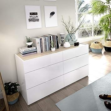LIQUIDATODO ® - Comoda de 6 cajones 120 cm moderna y barata en blanco brillo y natural