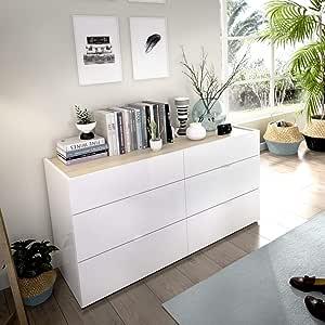 LIQUIDATODO ® - Comoda de 6 cajones 120 cm moderna y barata en blanco brillo y natural: Amazon.es: Hogar